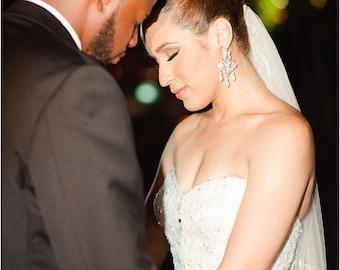 Bridal rhinestone Earrings Bridal Pearl Earrings Statement chandelier Bridal Earrings Stud Earrings Swarovski crystal ivory pearl ALEXA