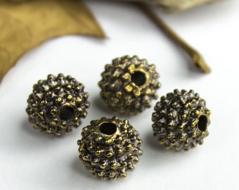 25%OFF 2 Bali Style Mykonos Greek beads, 10mm Rustic dotty Ball round bead, Black patina on bronze, beads with dots