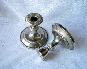 Vintage Candle holders Silverplate Candlestick Metal candleholder Metal candlestick Cottage decor