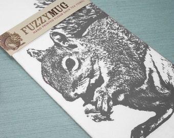 Squirrel Tea Towel in Gray - Hand Printed Flour Sack Tea Towel