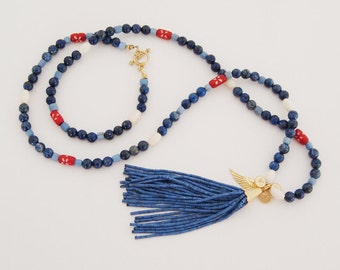 Bewitchingly Blue Lapis Tassel Necklace