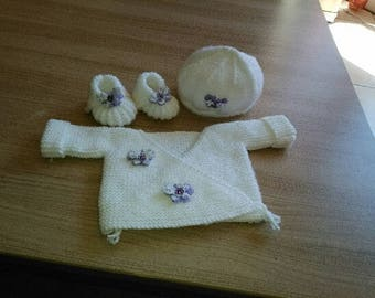 Bra set booties bonnet 0/3 months