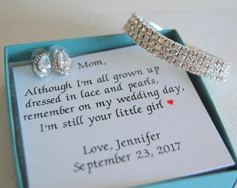 Mother of the Bride Gift, Mother of Bride gift from daughter, Bracelet and Earring set, Personalized mother of bride jewelry