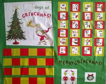 Fabric Panel/ The Grinch/ Advent Calendar/ Christmas