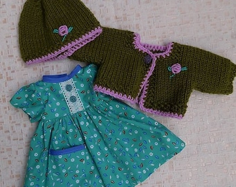 waldorf doll clothes - crochet sweater, hat and dress, doll suit, doll sweater, doll knitted suit, doll crochet sweater, 15inch doll clothes