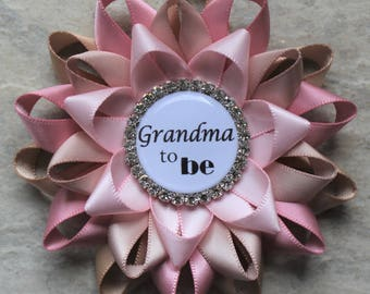 Grandma to Be Pin, New Grandma Gift, Rustic Baby Shower Decorations, Girl Baby Shower Corsages, Champagne, Quartz, Nude, Pale Pink