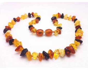Genuine Baltic Amber Baby Teething Necklace Mixed Random Shape Beads