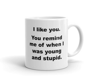 Sarcastic Funny Coffee Mugs - I like you. You remind me of when I was young and stupid. - For Office or Home