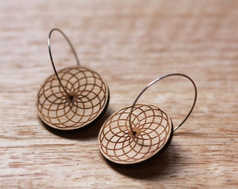 Geometric Bamboo Hoop Earrings / Spiral Mathematical Geometry Pattern / Eco Jewelry / Free Shipping / Surgical Steel / Sustainable Bamboo