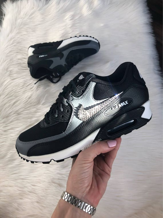 Women's Nike Air Max 90 Black/Grey/White Made with SWAROVSKI® Crystals