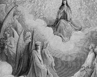 Gustave Dore Queen Of Heaven Dante Paradiso, Canto 31 Beatrice Angel Vintage Engraving To Frame Black & White