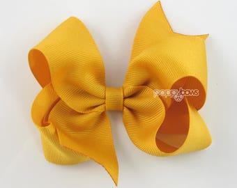 "Mustard Girls Hair Bows, 4 inch hair bows, yellow hair bow, big hair bow, boutique bows, large hair bow, toddler hairbows 4"" bow girl bows"