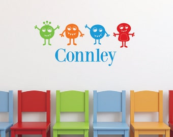 Space aliens, Personalized name wall decals, Space wall decals, Boys wall decals, Boys room decor, Wall stickers for bedroom, Monsters DB373