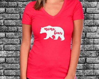 Mama Bear Glitter Ladies Shirt | Funny | Mom Gift | Gift For Her | Raising My Tribe