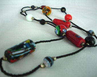 Very Long Glass Bead Necklace - Multicolored - Multishaped - Round, Discs, Tubes - Black Seed Beads  - Fashion Jewelry - Multilayered