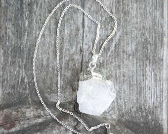 Raw Cut Crystal Quartz Sterling Silver Necklace