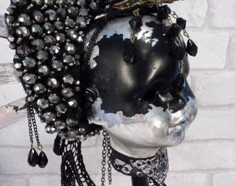 Gothic Black and Silver Dolls head on Stand