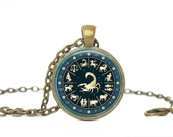 Scorpio. Navy. Zodiac Sign. Gift. Comes as a necklace or keychain.