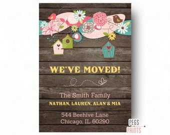 Rustic Moving Announcement PRINTABLE - Wood New Address Cards - New Address Announcement - Rustic Weve Moved Cards - Rustic Birdhouse Cards