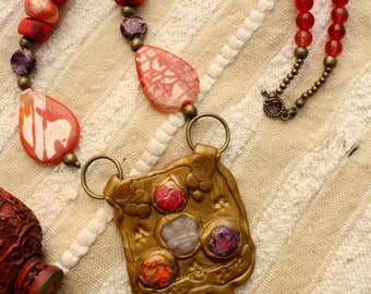 Byzantine necklace- medieval necklace- Renaissance- cabochon pendant- polymer, jasper- red-bordeaux-gold- polymer jewelery- unique creation