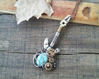 Larimar guitar necklace, Steampunk guitar necklace, steampunk jewelry, Gears guitar, Blue guitar
