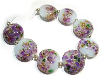 SRA Handmade Glass Lampwork Beads, Floral Purples Lentils