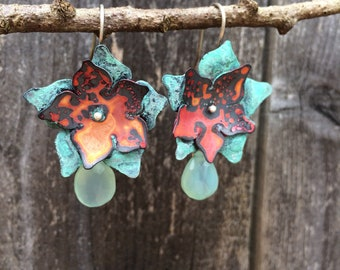Red and green copper flower earrings with chalcedony bead