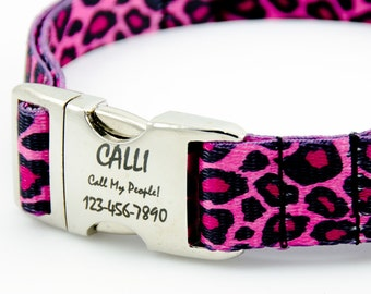 Personalized Hot Pink Leopard Print Dog Collar, Engraved Nameplate Buckle, Pet ID Tag with Polyester Webbing (Tough!)