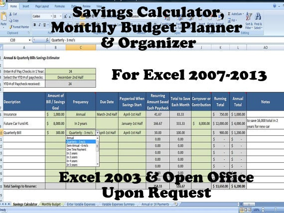 Savings Calculator Monthly Budget Planner And Organizer For Saving