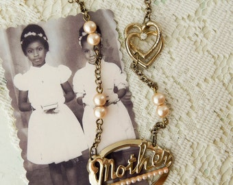 Mother love assemblage necklace / assemblage jewelry / vintage necklace / mother necklace / reclaimed jewelry / altered jewelry / statement