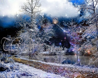 Fantasy Landscape,Trees, Water,Full Moon,Landscape,Snow, Winter landscape,Lake,Stars,Celestial,Metal Print,Fantasy Art,Moonlight,Night Sky