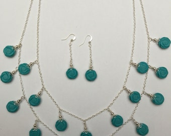 Multistrand howlite necklace with free matching earrings