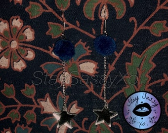 Medium Laser-Cut Acrylic Mirror Star & XS Midnight Blue Fluffy Pom Pom Earrings