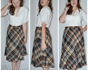 Vintage 1970s Brown and Gray Pleated Wool Blend Skirt 30 Inch Waist