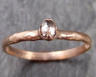 Faceted Fancy cut Rose Dainty Champagne Diamond Solitaire Engagement 14k Rose Gold Wedding Ring byAngeline 1084