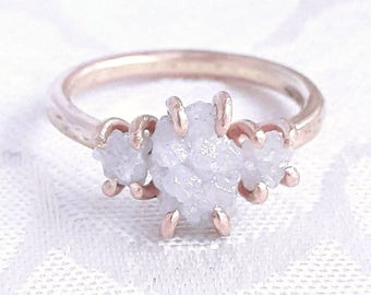 Three Stone Rough Diamond Ring - Solid Gold Ring - Raw Diamond Engagement Ring - Rose Gold Ring - White Gold Ring - Anniversary Gift
