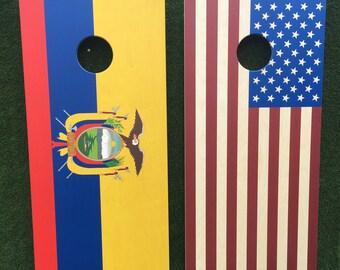 Cornhole Game by ColoradoJoes Ecuador and American Flag