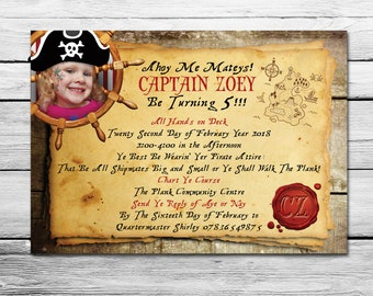 Personalised Pirate Party Invitation