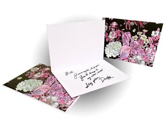 Bouquet Greeting Card - Black/Pink