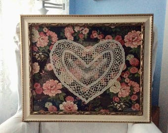 Vintage Tatted Lace Heart Framed Handmade Lace