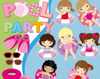 Girl Swim Party Invitation / Girls Pool Party / Swimming Birthday Invitation / Summer Pool Party Clipart (CG145) / INSTANT DOWNLOAD