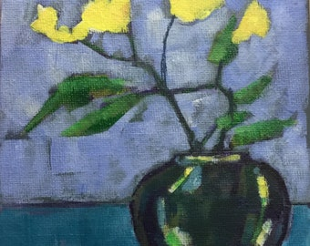 Small vase, contemporary art, acrylic still,life painting, semi-abstract, on stretched canvas