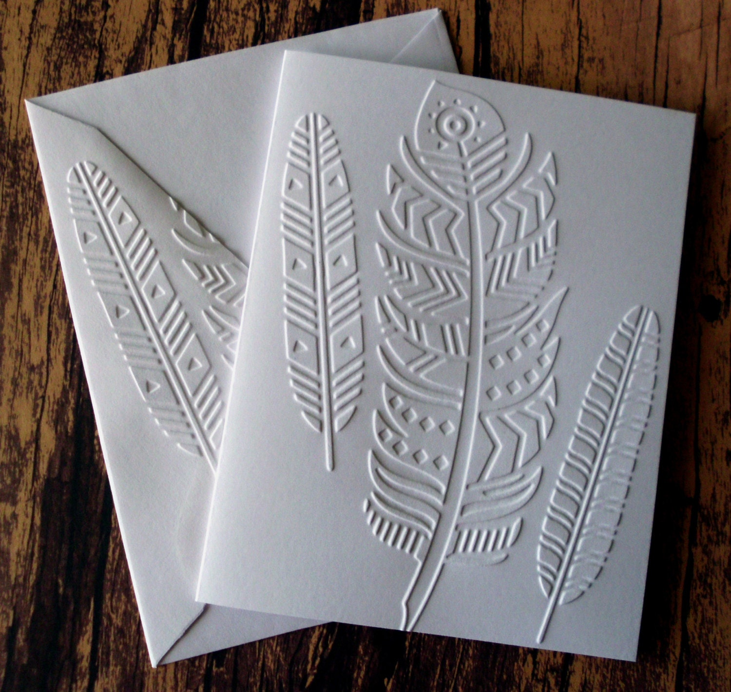 Tribal Feather Cards Set Of 5 Embossed Note Cards Greeting