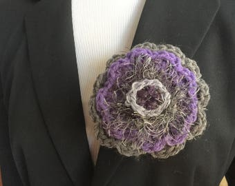 Purple and gray  brooch one of a kind handmade pin