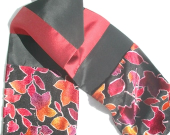 Patchwork Scarf, Pieced Scarf, Velvet, Red and Black, Upcycled, Repurposed, Dressy, Luxury, Men's Scarf, Recycled, Holiday Scarf, OOAK Scarf