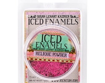 Iced Enamels relique powder, Raspberry, .25oz