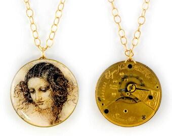 "Antique 1890 Elgin Gold Pocket Watch & Davinci's Drawing of ""Head of  Leda"" Steampunk Necklace"