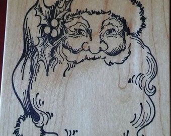 """On Sale, Santa Claus, PSX Rubber Stamp, K-292, 3.75"""" x 4.5"""" Wood Block Rubber Stamp, St Nick, Kris Kringle, Card Making, NEW Christmas Stamp"""