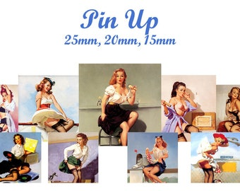 """Pinup"" digital collage sheet for sending MAIL square cabochons"