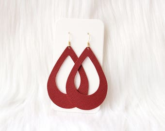 Red Cut Out Leather Drop Earrings, the leather drop, red earrings, red jewelry